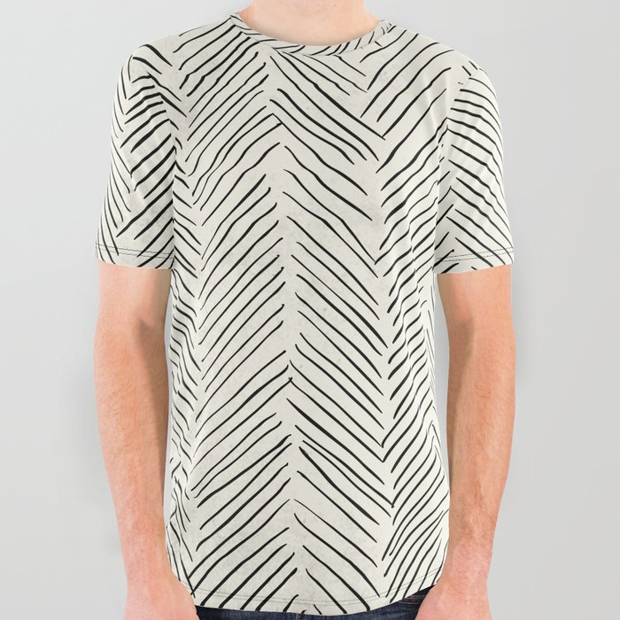 Herringbone Black on Cream All Over Graphic Tee