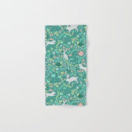 Spring Pattern of Bunnies with Turtles Hand & Bath Towel
