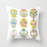 sugar skulls Throw Pillows featuring Sugar Skulls  by Stephanie Eve