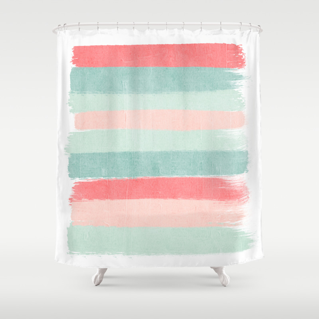 Coral and mint shower curtain - Coral And Mint Shower Curtain 7