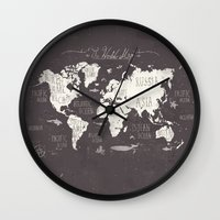 letters Wall Clocks featuring The World Map by Mike Koubou