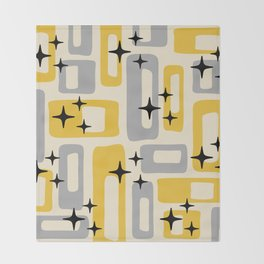 Retro Mid Century Modern Abstract Pattern 226 Yellow and Gray Throw Blanket