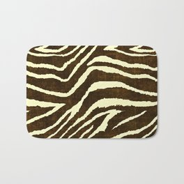 Animal Print Zebra in Winter Brown and Beige Bath Mat