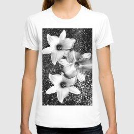 White Lilies on Black Glitter #1 #floral #decor #art #society6 T-shirt
