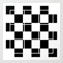 Black and white squares, crosses and lines Art Print