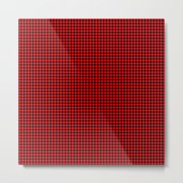 Classic Christmas Red and Black Houndstooth Check Pattern Metal Print