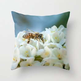 Bee In Garden Throw Pillow