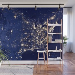 City Lights of the United States Wall Mural