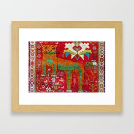 Antique Persian Hunting Rug With Lion Print Framed Art Print