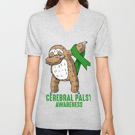 Cerebral Palsy Awareness Dabbing Sloth Love Gift Unisex V-Neck