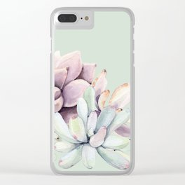 Beautiful Mint Succulents Clear iPhone Case