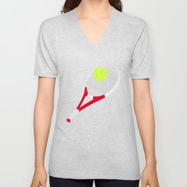 Tennis racket and tennis ball Unisex V-Neck