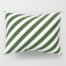 Large Dark Forest Green and White Candy Cane Stripes Pillow Sham