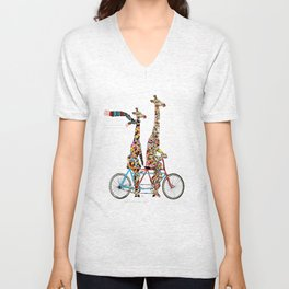 giraffe days lets tandem Unisex V-Neck