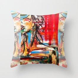 Wind Girl Throw Pillow