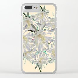 WHITE  NIGHT BLOOMING TROPICAL CEREUS  ON CREAM ART Clear iPhone Case