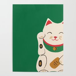 Green Lucky Cat Maneki Neko Poster