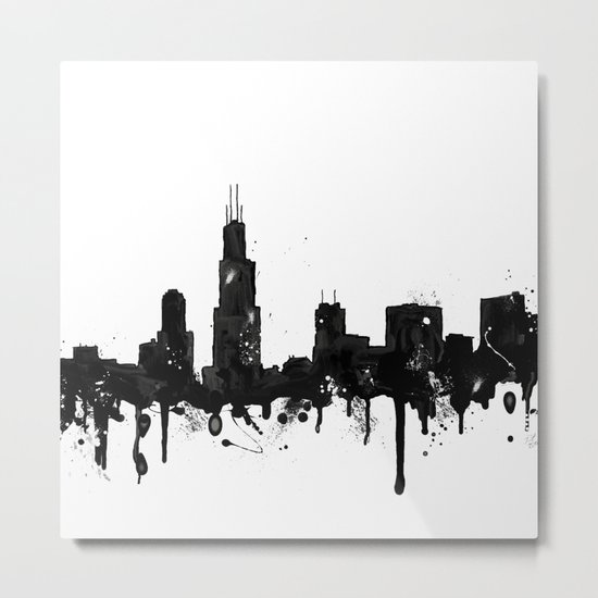 Watercolor Chicago Skyline Metal Print