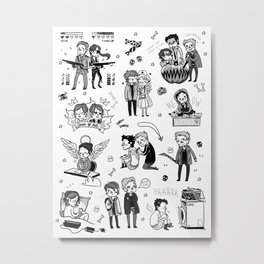 Supernatural Chibis B Metal Print