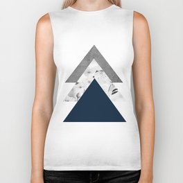 Blue grey monochrome blossom arrows Biker Tank