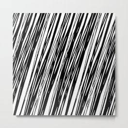 Black lines on a white background pattern Metal Print