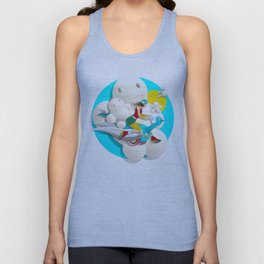 Time bunny girl and clouds Unisex Tank Top