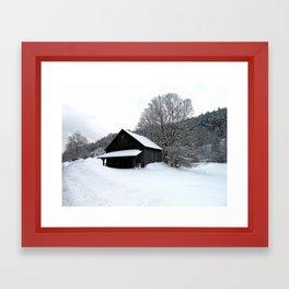 Barn On Snowy Hill Framed Art Print