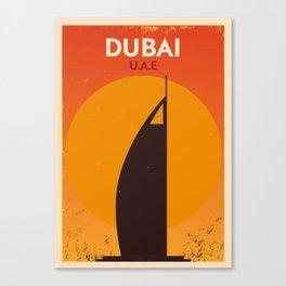 Vintage Dubai Poster Canvas Print