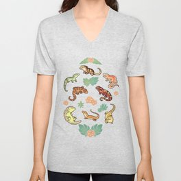 Gecko family in yellow Unisex V-Neck