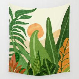 Summer In the Jungle / Contemporary Sunset Scene Wall Tapestry