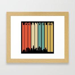 Retro 1970's Los Angeles California Downtown Skyline Framed Art Print
