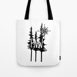 PNW Trees & Compass Tote Bag