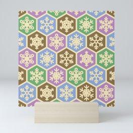 Modern Green Purple Brown Christmas Holiday Pattern Mini Art Print