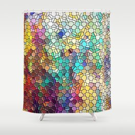 Decorative Rainbow Tiled Mosaic Abstract Shower Curtain