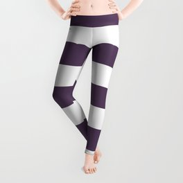 Old heliotrope - solid color - white stripes pattern Leggings
