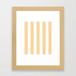 Caramel pink - solid color - white vertical lines pattern Framed Art Print