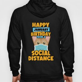 Social Distancing Gift Happy January Birthday From An Abyssinian Social Distance Hoody