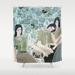 Girls With Pugs Among Roses Shower Curtain