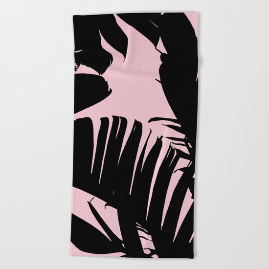 Unique Black and Pink Tropical Banana Leaves Pattern Beach Towel