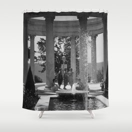 Isadora Duncan Dance Troup posing in gazebo by water fountain floral black and white photography Shower Curtain