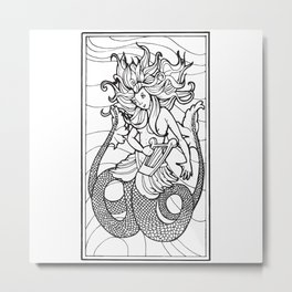 Siren from the Bestiary Coloring Book Metal Print