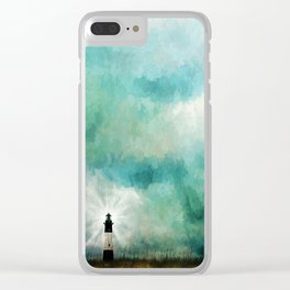 Tybee Island Lighthouse Painting Clear iPhone Case