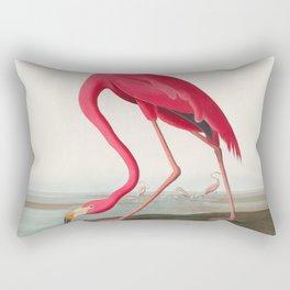 Fuchsia Flamingo Audobon Painting Rectangular Pillow
