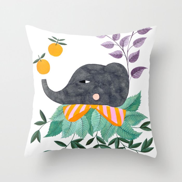 elephant with oranges and leaves watercolor illustration Throw Pillow