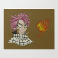 fairy tail Canvas Prints featuring Natsu - Fairy Tail by Kelly Katastrophe