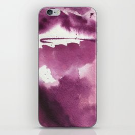 Blushing [3]: a minimal abstract watercolor and ink piece in shades of purple and red iPhone Skin