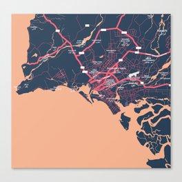 Minimalist Modern Map of Karachi, Pakistan 9 Canvas Print