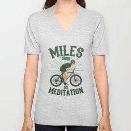 MILES FOR MEDITATION Bike Gift For Cyclists Unisex V-Neck