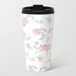 watercolor peonies Metal Travel Mug