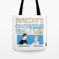 500 days of summer Tote Bags featuring 500 Days of Sumner by StellaDays